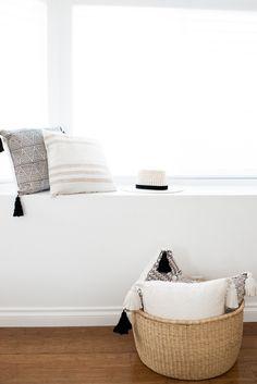 Master Bedroom for www.eatsleepwear.com // Modern // Neutral // Black and White // Minimal // Cream Pillows // Black and White Pillows