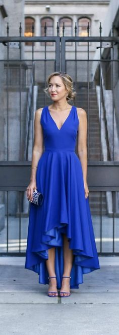 2016 Spring / Summer Dress MEMO: The ultimate dress guide for every warm weather occasion or event this spring and summer! Black Tie Wedding Guest Dress {cobalt blue asymmetrical gown, blue ankle strap heeled sandals, minauderie + updo hairstyle} What to wear to a spring or summer black tie wedding