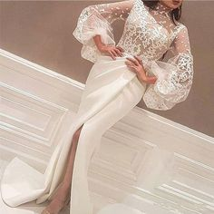 high neck evening dresses 2020 ivory lace appliqué arabic mermaid evening gown formal party dress high neck evening dresses 2020 ivory lace appliqué arabic mermaid even – inspirationalbridal Evening Gowns With Sleeves, Lace Evening Dresses, Lace Dress, Prom Dresses, Plus Size Evening Gown, Dress Sleeves, Ladies Dresses, Gown Dress, Half Sleeves