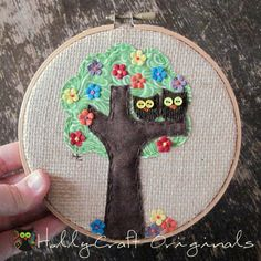 Embroidery Hoop Art, Owls in Tree Applique,Textile Artwork, Owl Art, Embroidery Art