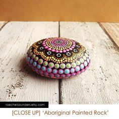 Painted Stone Aboriginal Dot Art Rainbow design by RaechelSaunders