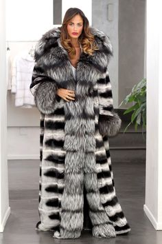hooded, long chinchilla & silver fox fur coat