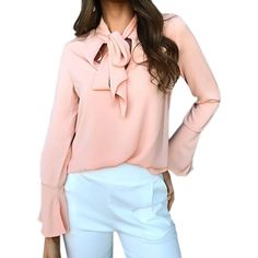This+preppy+style,+Flare+sleeve+autumn+blouse+is+great+to+pair+with+dressy+blazers+and+fitted+pants!+Suitable+for+casual+and+formal+occassions.    -+Composed+of+Polyester+and+Spandex  -+Sizes+available+are+from+S+to+XL.  -++O-neck,+Broadcloth+,+Flare+sleeve.