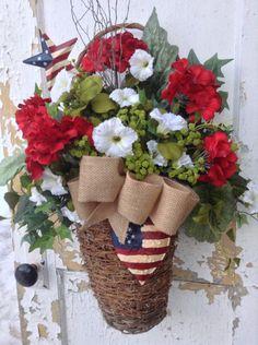 Patriotic Wreath for Door, Patriotic Wall Basket, Americana Decor, Spring Wreath, Spring Wall Basket, Memorial Day Wreath, Summer Wreath by FlowerPowerOhio on Etsy