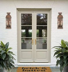 20 Front Porch Ideas for Small or Sprawling Spaces | Blog| brick&batten Double Front Entry Doors, Double Doors Exterior, White Front Doors, Colored Front Doors, Enclosed Front Porches, House Front Porch, White Brick Houses, Porch Doors, Painted Front Doors