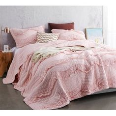 Provide luxurious amenities for your bedding with the Single Tone Relaxing Chevron Ruffles Quilt Set by Byourbed . This quilt set includes one cozy quilt. Plum Bedding, Chevron Bedding, Cute Bedding, Twin Xl Bedding, Comforter Sets, King Comforter, Bedding Sets Online, Luxury Bedding Sets, Oversized King Quilts