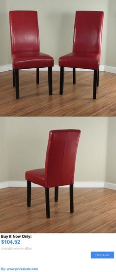 furniture: Villa Faux Leather Red Finish Dining Room Furniture Side Accent Chair Set Of 2 BUY IT NOW ONLY: $104.52 #priceabatefurniture OR #priceabate