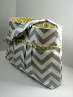 Monterey Chevron Diaper Bag - Medium - In Grey Chevron and Lime Dot - Adjustable Strap and Elastic Pockets. $75.00, via Etsy.