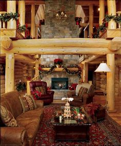 log-cabins:    I love the massive scale of the timbers and fireplace!