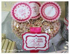 Pink Candy Buffet  for an Elegant Baby Shower in Connecticut, Candy Table, Classy Parties, Dessert Tables