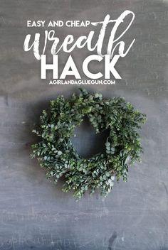 How to make a pretty green wreath for CHEAP! - A girl and a glue gun easy-and-cheap-wreath-hack wreaths Cheap Wreaths, How To Make Wreaths, Front Door Decor, Wreaths For Front Door, Wedding Door Wreaths, Front Doors, Greenery Wreath, Burlap Wreaths, Ribbon Wreaths