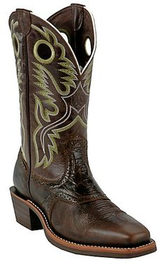 Brent - Ariat® Heritage Roughstock™ Men's Thunder Brown Square Toe Western Boots | Cavender's Boot City