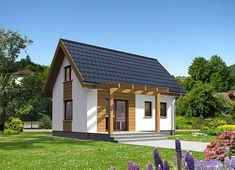 Projekt domu Martin LMW18 54,10 m² - koszt budowy - EXTRADOM Small Cottage Homes, Apartment Layout, Small House Plans, Tiny House, Gazebo, Shed, Exterior, Outdoor Structures, Cabin
