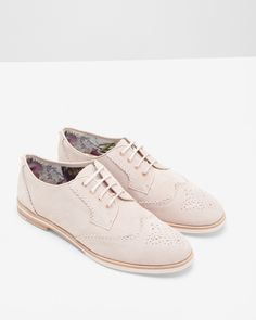 We're obsessed with these stylish light pink lace-up oxfords with brogue  detailing from Ted Baker. This fashionable pair of shoes would look great  with both ...