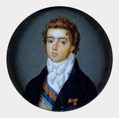 D. Pedro com 19 anos Têmpera sobre marfim (miniatura) Jean Phillipe Goulu, RJ, 1817 Palácio Nacional de Queluz - Portugal