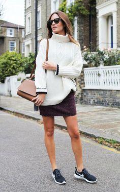 white turtleneck tweed skirt street style #flatlay #flatlays #flatlayapp www.theflatlay.com