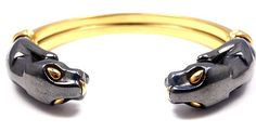 RARE! AUTHENTIC CARTIER PANTHER 18K YELLOW GOLD SILVER CUFF BANGLE BRACELET BOX   eBay