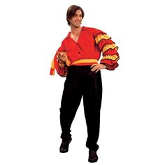"Men's rumba man fancy dress costume Spanish style red shirt with ruffles Includes shirt, trousers and belt Ideal for Spanish fancy dress Colour: Red/Black Size: One Size Fits Most - Up to 46"" chest"