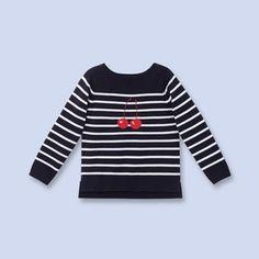 Striped cherry sweater NAVY/WHITE Girl - Boys and girls Clothes - Jacadi Paris