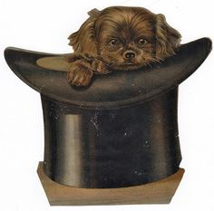 Victorian Scrap Dog in Top Hat ~ Ephemera