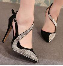 Kadınlar için seksi sivri burun cut-çıkışları rhinestone pompalar moda yüksek topuklar düğün ayakkabı lüks kristal kadınlar akşam parti ayakkabı(China (Mainland))