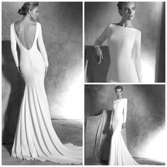 Atelier Pronovias, Ivania Wedding Dress   Crepe mermaid wedding dress. Long-sleeved bodice with covered buttons at the cuffs. Plunging V back and covered buttons. - See more at Confetti.co.uk