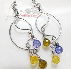 Free Wire Jewelry Designs | simple three pieces of wires on each side adorned with tear drop glass ...