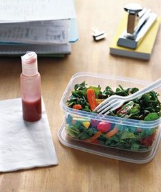 Travel bottles as salad dressing containers. AH!!! FINALLY! I can never find something small and portable that doesn't spill for salads. AWESOME idea!