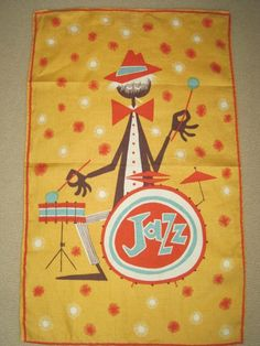 tea towel goodness at this store  Vintage Jazzman Towel by NeatoKeen on Etsy