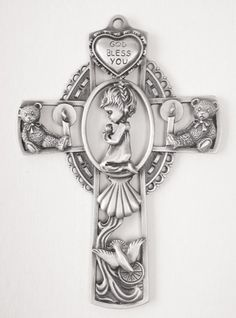 Pewter Baby Girl Baptism Cross - 5 inch