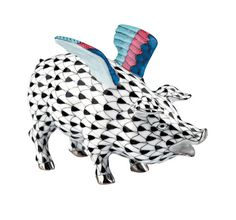 Herend Porcelain Figurine of a Flying Pig - Limited Edition of 500