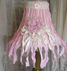 Pink shabby cottage lamp shade embellished handmade paper and linen pink shabby cottage lamp shade embellished handmade paper and linen roses tattered ruffles and muslin bows anita spero design shabby cottage aloadofball Gallery