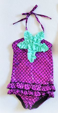 Purple/Mint Mermaid One Piece Swimsuit #boutique-outfits #new #newborn-clothing #newborn-sets #perfect-sets #spring-line