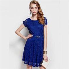 Awesome short lace dress blue 2017-2018