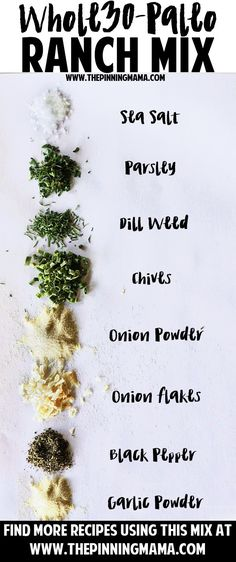 Paleo Ranch seasoning mix recipe gluten free, compliant, dairy free an. - Vegan and Paleo Recipes Homemade Ranch Seasoning, Ranch Seasoning Mix, Homemade Seasonings, Paleo Taco Seasoning, Homemade Spices, Homemade Ranch Mix, Mayo Homemade, Homemade Ranch Dressing, Chicken Seasoning