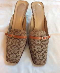Authentic Signature Coach Shoes Mules/Slides Greta Made in Italy Size 10