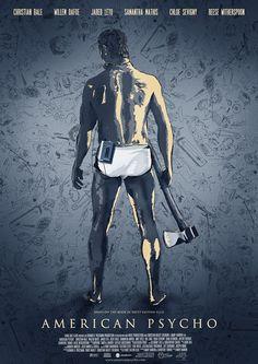 American Psycho by Adam Cockerton Horror Movie Posters, Movie Poster Art, Horror Movies, Film Posters, Christian Bale, 2 Movie, Love Movie, American Psycho Poster, American Horror Movie