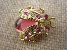 Vintage Gold Tone Metal Pink Jelly Belly by justayayadesign, $18.00