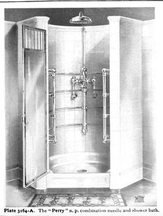 Large corner shower. Laurelhurst Craftsman Bungalow: Mott's 1914 Plumbing Catalog