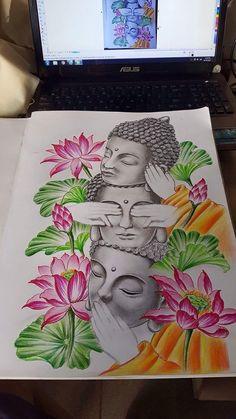 Tattoos Discover Tattoo sleeve ideas for men inspiration art designs 68 trendy Ideas Buddha Drawing, Doodle Art Drawing, Buddha Painting, Buddha Art, Mandala Drawing, Pencil Art Drawings, Art Drawings Sketches, Mandala Art, Buddha Tattoos