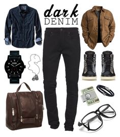 """Mens wear: Dark Denim"" by thekabaothao ❤ liked on Polyvore featuring True Religion, Banana Republic, Piel Leather, Nixon, American Coin Treasures, Phillip Gavriel, Yves Saint Laurent, Diesel, men's fashion and menswear"