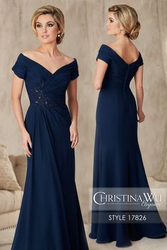 #ChristinaWuElegance Style 17826 A classic silhouette, this portrait collar flatters the neckline with a gathered bodice and off-the-shoulder short sleeve in chiffon. The bodice features a beaded lace appliqu', and the skirt is an A-line with a pleated drape front. MATERIAL Chiffon SILHOUETTE Semi A-Line NECKLINE V-Neck COLOR Navy, Taupe, Charcoal
