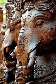 Wooden Idols of Ganesha; supposed to be remover of obstacles, - I'm betting he's pretty into recycling, too. Largest Collection of Lord Ganesha on the Planet Indian Gods, Indian Art, Lord Ganesha, Shri Ganesh, Krishna, Hindu Art, Gods And Goddesses, Wood Sculpture, Shiva