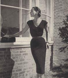 Dark Sparkle • 1950s Knitting Cocktail Dress Shirtdress • 50s Vintage Engagement Vogue Pattern • Retro Women's Knit Digital PDF by TheStarShop on Etsy