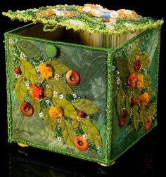 Box by Larkin Jean Van Horn—beaded lid, sides fabric with free motion quilting and assorted embellishments. Ribbon Embroidery, Beaded Embroidery, Fabric Art, Fabric Crafts, Fabric Boxes, Fabric Basket, Fabric Storage, Creative Textiles, Arts And Crafts
