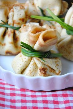 crepes filled with herbs cheese