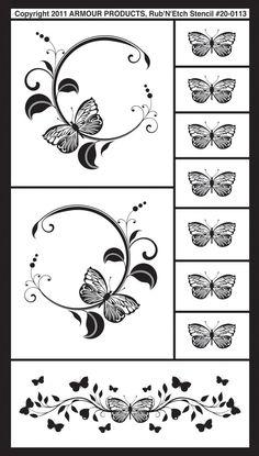 "glass etching patterns | Butterflies 2 Rub 'n' Etch Glass Etching Stencils 5""X8"" 1/Pkg 20R-0113"