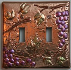 Double Light Switch Plate Copper Grapes by ArtByTR on Etsy Tuscan Design, Tuscan Style, Kitchen Renovation Design, Kitchen Drawing, Kitchen Themes, Kitchen Ideas, Kitchen Decor, Dining Decor, Dining Room