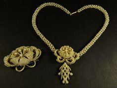 ANTIQUE VICTORIAN ENGLISH SEED PEARL NECKLACE & PIN BROOCH c1850