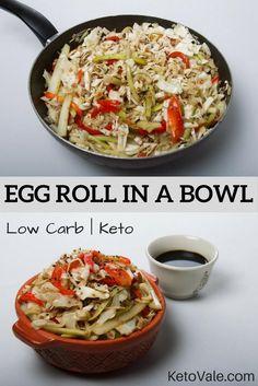 Pork Egg Roll in a Bowl Low Carb Recipe Slaw Recipes, Pork Recipes, Low Carb Recipes, Diet Recipes, Healthy Recipes, Healthy Appetizers, Pork And Cabbage, Pork Egg Rolls, Crack Slaw